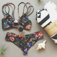 Hot print flower two piece bikinis