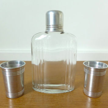 Glass travel bar flask with aluminum shot glasses