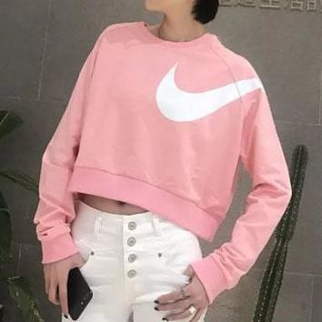 Nike sports round neck vest women's long sleeves short style knitting outdoor fitness training jacket tights