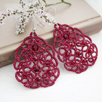 Wine red lace earrings Terpsichore, wine red earrings, tatted earrings, long earrings, statement earrings, tatting lace jewelry.