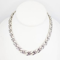 Brushed Silvertone Link Necklace, Signed Trifari w/ Polished Z-Links Vintage 1950s 1960s, Choker Princess Length Mid Century Modern Jewelry