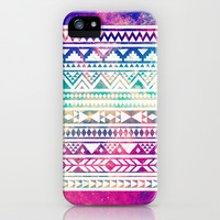 Colorful Cute Girly Geometric Space Nebula Aztec Tribal Pattern  iPhone & iPod Case by hyakume