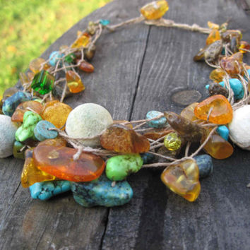 Honey Amber Turquoise Necklace Linen Summer Jewelry Baltic Amber Yellow Orange Blue Teal Nautical Multistrand Sea Story Valentines Day
