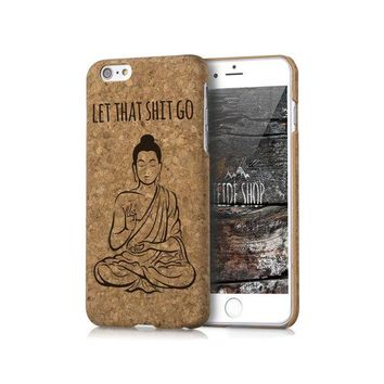 Cork iPhone 8 Case Buddha Wooden iPhone 8 Plus Case Wood iPhone 7 Case Cork iPhone 6 Case iPhone SE Case Yoga Meditation Cork iPhone 5 Cover