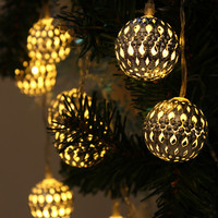 String Fairy Lights Christmas Decor Battery Operated 47 Inch 10 LED Ball Cool or Warm White & Silver or Gold Tone
