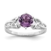 Sterling Silver Genuine Amethyst Celtic Trinity Knot Ring