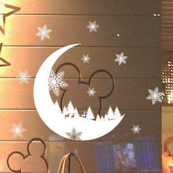 New Year Window Glass PVC Wall Sticker Christmas DIY Snow Moon Wall Stickers Home Decal Christmas Decoration for Home Supplies