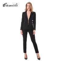 CIEMIILI 2017 New Womens Suits Blazer with Pants Button and Zipper Fly Full Length Skinny Pants Sexy Cool Style Hollow Out Suits