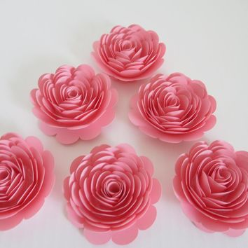 """Pink Paper Flowers, set of 6 3"""" rosettes Girl Baby Shower Decor, Wedding decorations, banquet dinner floral table scatter centerpiece ideas, sweet 16th birthday party decoration"""