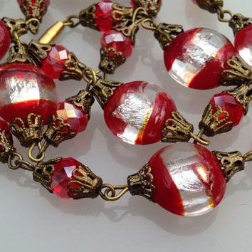 Vintage Red Bohemian Necklace. Red Foil Glass Bead Necklace. Brilliant Electrified Foiled Red & Silver. Filigree Beads
