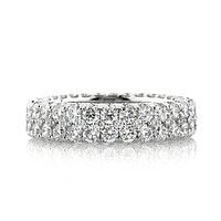 Waterfall I, A Perfect 4.4TCW Solitaire Cut Russian Lab Diamond Full Eternity Ring
