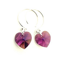 Purple Earrings, Heart, Small Amethyst Earring, Tiny Heart Earring, Deep Purple Heart, Sterling Silver Hoop, February Birthstone