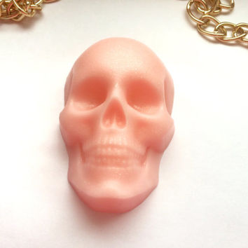 Pink skull soap, pink pearly soap, strawberry yogurt scented soaps, skeleton soap, skull gift, skeleton present, white pearl soap, milk soap