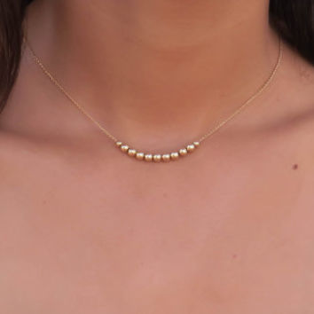 Gold Necklace gold beads necklace gold beaded necklace gold bar necklace, Simple Necklace gold filled necklace delicate necklace