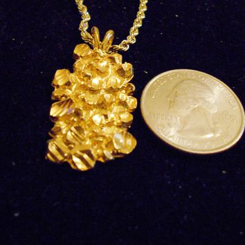 bling 14kt yellow gold plated dude money lucky nugget good luck sign symbol casino pendant charm 24 inch rope chain hip hop trendy fashion necklace jewelry