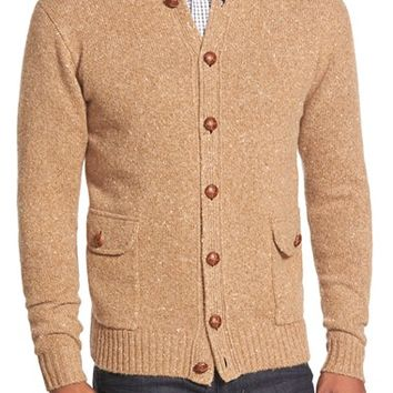 Men's Peter Millar Button Front Camel Hair Cardigan,