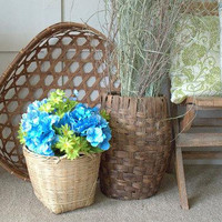 Handmade Tobacco Basket,  Large  Woven Toy Basket , Hand Made Wooden Blanket Basket, Huge Laundry Basket,