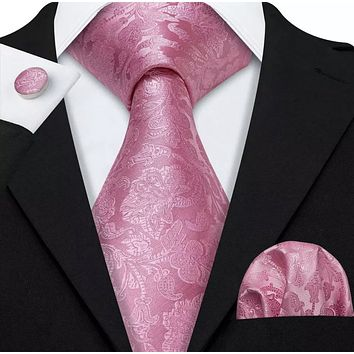 EXTRA LONG Men's Silk Coordinated Tie Set - Solid Pink Paisley