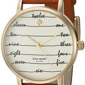 Goldtone Metro Watch kate spade new york Luggage Leather Strap