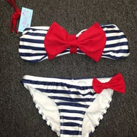 PRE-ORDERS Nautical Striped Bow Bikini