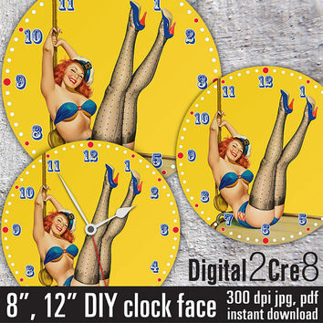 "Pin-Up Girl vintage Clock Face - 12"" and 8"" Digital Downloads - DIY - Printable Image - Iron On Transfer - Wall Decor - Crafts - jpg+pdf"