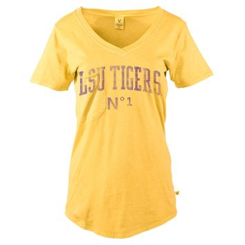 Official NCAA Louisiana State University Tigers LSU GEAUX Tiger Mike Women's Slouch Pocket V-Neck T-Shirt