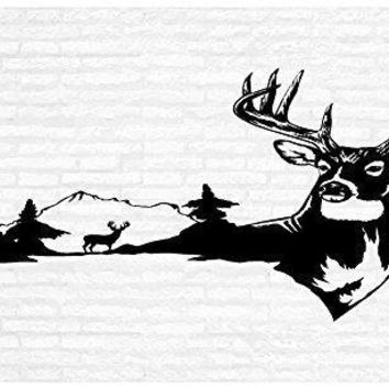 Buck Deer Man Cave Animal Rustic Cabin Lodge Mountains Hunting Vinyl Wall Art Sticker Decal Graphic Home Decor