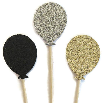 glitter balloon cupcake toppers, graduation party decorations, set of 12