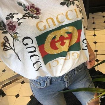PEAPUX5 GUCCI Fashion Loose Embroidery Roses Print Shirt Top Tee-1