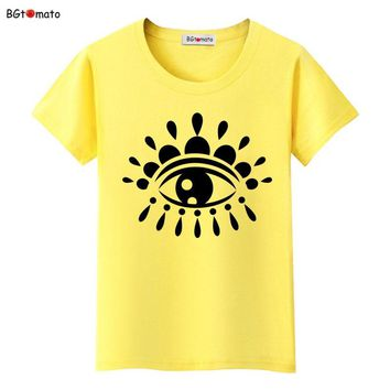 BGtomato NEW Creative eyes t shirts print letters female T-shirt Hot sale summer tee shirts femme harajuku shirt women tops