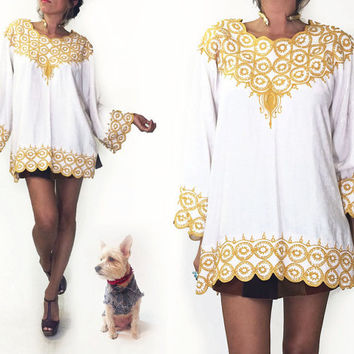 Vintage 1970's EMBROIDERED Indian Gypsy Bell Sleeve Bohemian White And Gold Cotton Boho Tunic Festival Top || Size Large to Extra Large L XL