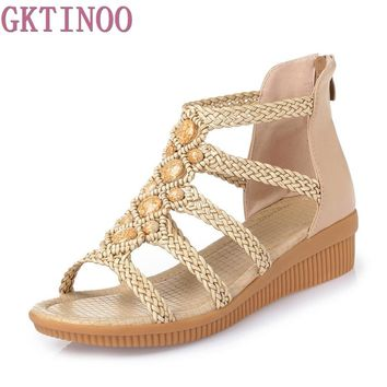 Fashion Women's Beach Sandals summer women genuine leather sandals Bohemia Beaded sandals Women Shoes Plus size 35-43
