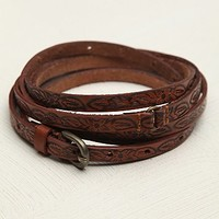 Free People Womens Tooled Leather Double Wrap Belt