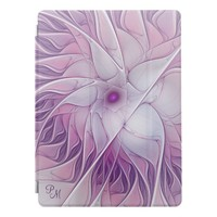 Beautiful Pink Flower Modern Abstract Monogram iPad Pro Cover
