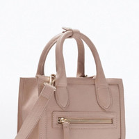 Blush Faux Leather Mini Tote Bag