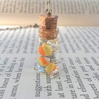 Candy Corn - Halloween Jewelry - Kawaii Polymer Clay Charms - Mini Bottle Necklace - Thanksgiving Necklace - Fall Jewelry - Candy Jewelry
