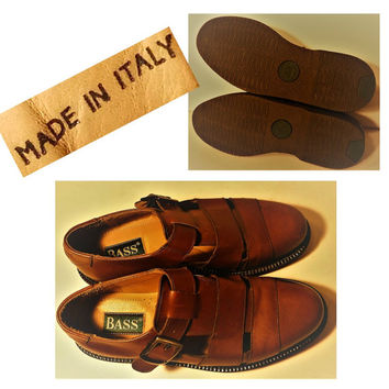 Men's shoes, Italian shoes, Leather sandals, Brown leather shoes, Fisherman sandals, Leather buckle shoes, Fisherman shoes Made in Italy 10M