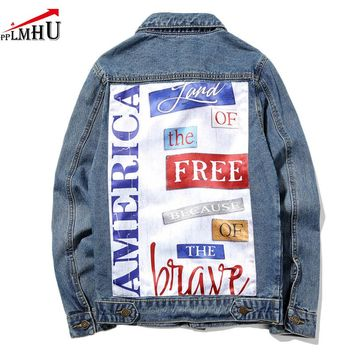 New Denim Jacket Me Hot Fashion  Mens Denim Coat Letter Printting Denim Overcoat