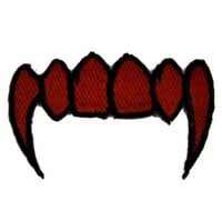 ac spbest Blood Red Vampire Fangs Patch Iron on Applique the Strain