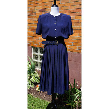 Vintage Leslie Fay Navy Blue Day Dress with Full Pleated Skirt, Matching Belt, Midi Length, Transitional Style, 80s,