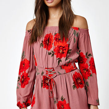 Kendall and Kylie Off-The-Shoulder Smocked Romper at PacSun.com