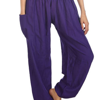 Boho Harem Yoga Pants - Solid Purple