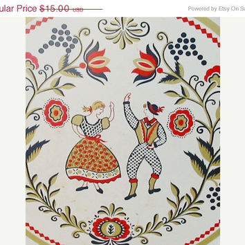 20% OFF SUMMER SALE Large Round Tray with Scandinavian or Dutch Motif by Maxey