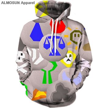 ALMOSUN Runescape Runes 3D All Over Printed Hoodies Pockets Sweatshirt Hipster Street Wear Top Men Women US Size