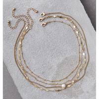 AEO Gold Faux Pearl Layering Necklace, Gold