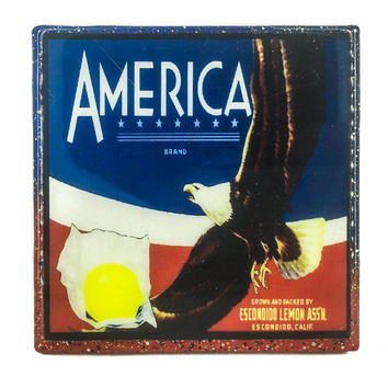 Handmade Coaster America brand (2) - Vintage Citrus Crate Label - Handmade Recycled Tile Coaster