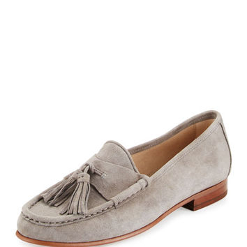 Sam Edelman Therese Suede Tassel Loafer, Gray Frost