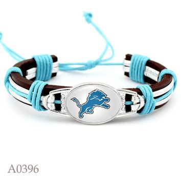 10pcs/lot Adjustable Detroit Lions Leather Cuff Bracelet For Men & Women Bangle Casual Football Team Wristband Jewelry