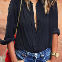 Lapel Long Sleeve Buttons Blouse