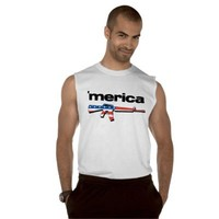 Merica sleeveless shirt with American flag gun from Zazzle.com